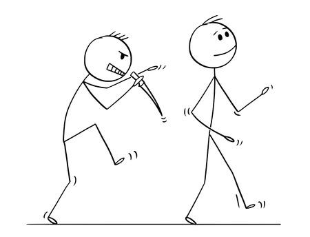 Cartoon stick figure drawing conceptual illustration of killer with knife sneaking silently behind walking man. Vektoros illusztráció