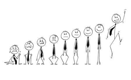 Cartoon stick figure drawing conceptual illustration of set or group of businessmen characters showing various emotions between depression and joy. Concept of investor or market sentiment.