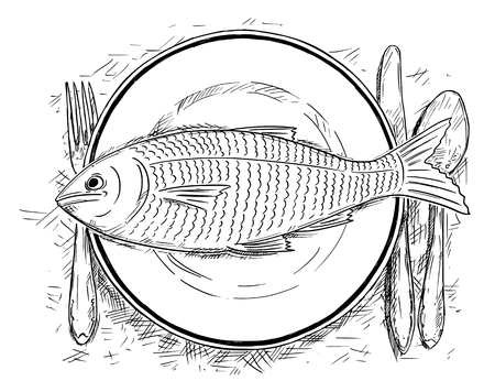 Cartoon drawing illustration of top view of fish food on dinner plate.