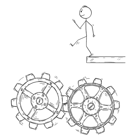 Cartoon stick figure drawing conceptual illustration of man or businessman walking artless and falling down in to machine cogwheels.Metaphor of expectations and real life.
