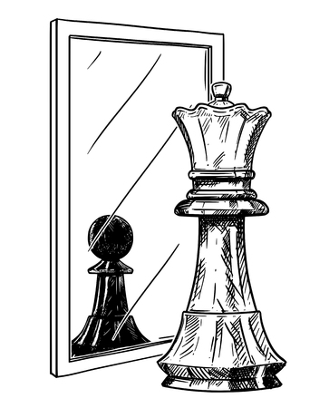 Cartoon-Zeichnung und konzeptionelle Illustration eines weißen Schachbauers, der sich im Spiegel als schwarzer König widerspiegelt. Metapher des Vertrauens.