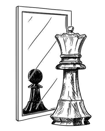 Disegno animato e illustrazione concettuale del pedone di scacchi bianco che riflette nello specchio come re nero. Metafora della fiducia.