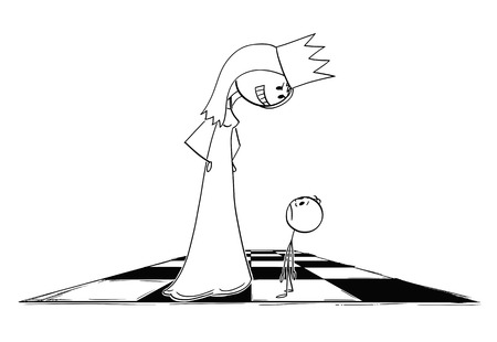Cartoon stick figure drawing conceptual illustration of giant menacing and threatening chess queen figure looking at small pawn.