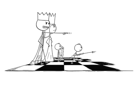Cartoon stick figure drawing conceptual illustration of big chess king sending small pawn figure to fight or battle. Metaphor of power and dominance.