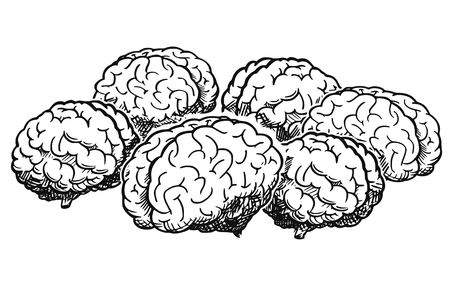 Cartoon drawing and conceptual illustration of group of human brains thinking together as team brainstorming metaphor.