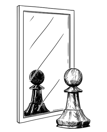 Cartoon drawing and conceptual illustration of white chess pawn reflecting in mirror as black. Metaphor of good and evil inside of human being.