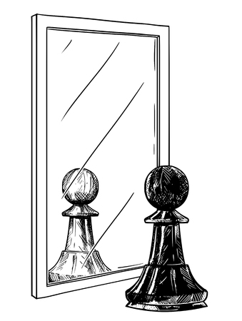Cartoon drawing and conceptual illustration of black chess pawn reflecting in mirror as white. Metaphor of good and evil inside of human being.