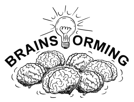 Cartoon drawing and conceptual illustration of brainstorming logotype with group of brains thinking together and light bulb or lightbulb. Stock Illustratie