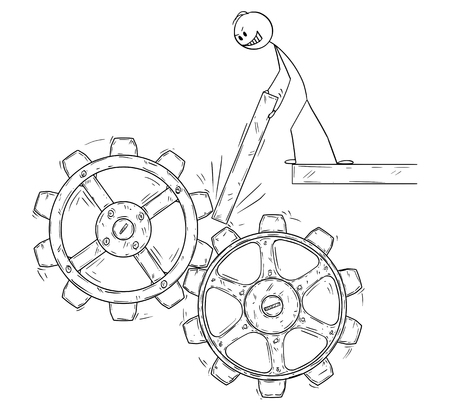 Cartoon stick figure drawing conceptual illustration of man or businessman trying to stop or block machine cogwheels as social or political system revolt metaphor.