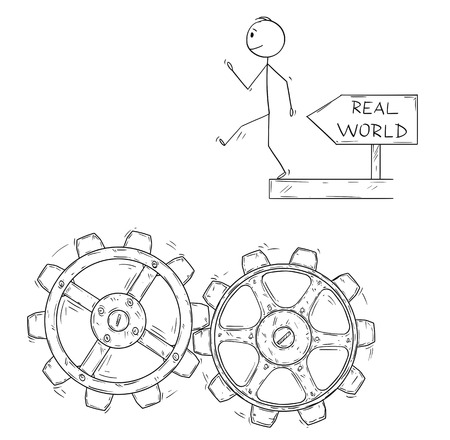 Cartoon stick figure drawing conceptual illustration of man or businessman walking artless and falling down in to machine cogwheels.Metaphor of expectations and real world.