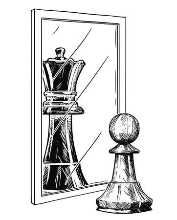 Cartoon drawing and conceptual illustration of white chess pawn reflecting in mirror as black king. Metaphor of confidence. Stock Illustratie