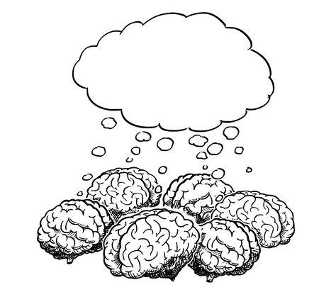 Cartoon drawing and conceptual illustration of group of human brains thinking together as team brainstorming metaphor, with empty speech bubble for your text.