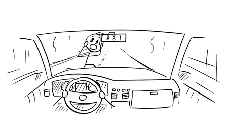 Cartoon stick figure drawing conceptual illustration of car dashboard and driver's hands on steering wheel while pedestrian is almost run down in accident.