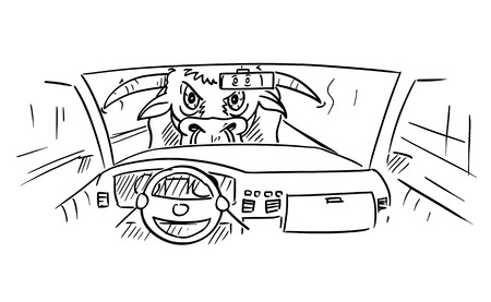Cartoon stick figure drawing conceptual illustration of car dashboard and driver's hands on steering wheel while big dangerous bull or ox is looking inside.