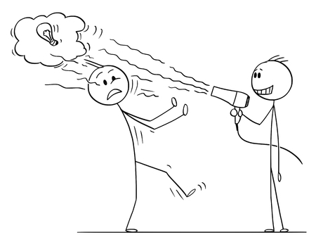 Cartoon stick figure drawing conceptual illustration of businessman using hairdryer to blow off innovative idea of his business competitor. Stock Illustratie