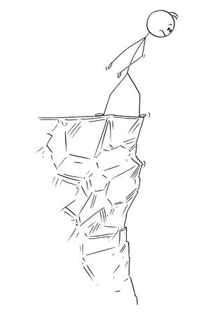 Cartoon stok figuur tekening conceptuele afbeelding van man of zakenman voorzichtig kijken over de rand van de klif. Vector Illustratie
