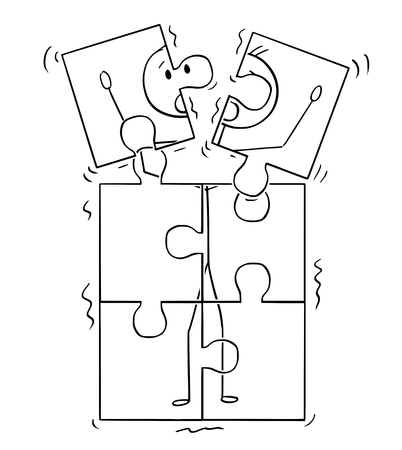 Cartoon stick figure drawing conceptual illustration of image of man broking up in jigsaw puzzle pieces. Concept of dementia and mental health. Illustration