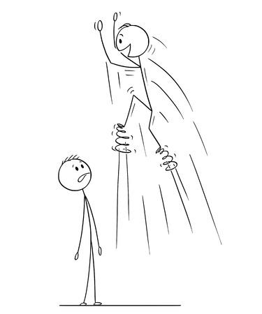Cartoon-Strichmännchen zeichnen konzeptionelle Illustration des Mannes, der das Springen mit Federn auf Füßen genießt, ein anderer Mann ist überrascht und schockiert.