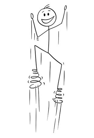 Cartoon stok figuur tekening conceptuele afbeelding van man genieten van springen met veren op bezinksel.