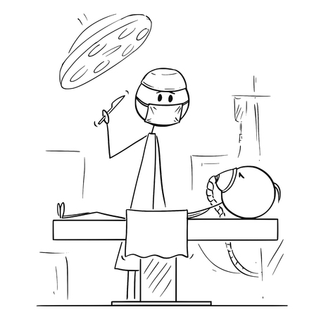 Cartoon stick figure drawing conceptual illustration of doctor surgeon on operating theater ready to operate patient.