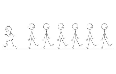 Cartoon stick figure dessin illustration conceptuelle de l'individualité de l'homme ou de l'homme d'affaires se tenant hors de la foule ou du groupe de mêmes hommes d'affaires uniformes marchant dans la même direction.