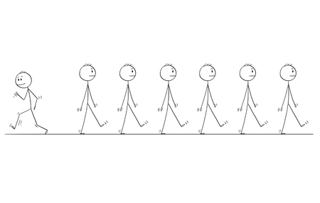 Cartoon stick figure drawing conceptual illustration of man or businessman individuality standing out of crowd or group of same uniform business people walking same direction. Illustration
