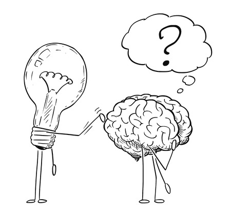 Cartoon stick figure drawing conceptual illustration of lightbulb or light bulb character tapping on back of thinking brain. Business concept of creativity and idea.