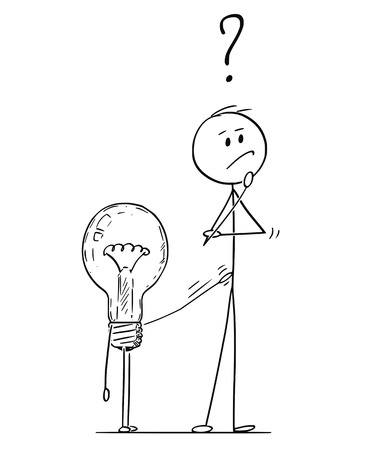 Cartoon stick figure drawing conceptual illustration of man or businessman thinking about problem or strategy. Lightbulb or light bulb is tapping on him to offer solution. Illustration