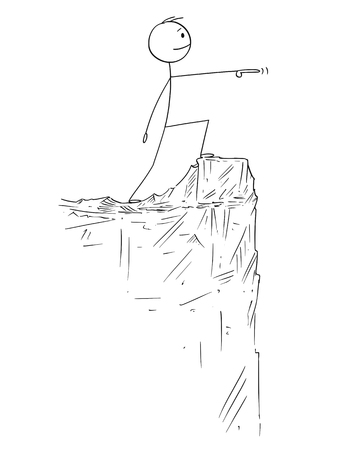 Cartoon stick figure drawing conceptual illustration of man or businessman in heroic pose standing on the edge of the cliff and pointing forward. Illustration
