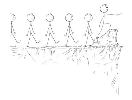 Cartoon Strichmännchen zeichnen konzeptionelle Darstellung von Mann oder Geschäftsmann in heroischer Pose, die am Rand der Klippe steht und nach vorne zeigt, führende Schar von Anhängern.