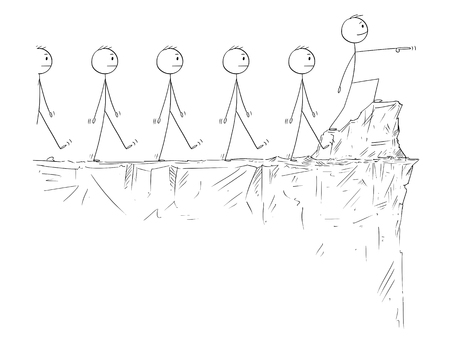 Cartoon stick figure drawing conceptual illustration of man or businessman in heroic pose standing on the edge of the cliff and pointing forward, leading crowd of followers. Illustration