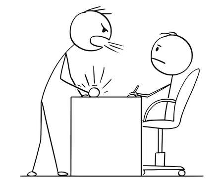 Cartoon stick figure drawing conceptual illustration of man or businessman yelling or screaming at boss, clerk or subordinate sitting behind office desk or table.