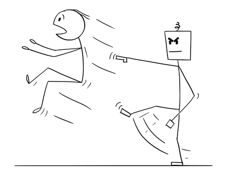 Cartoon stick figure drawing conceptual illustration of man kicked out or replaced by artificial intelligence humanoid robot. Metaphor of AI replacing human. Vetores
