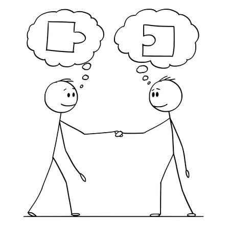 Cartoon stick figure drawing conceptual illustration of two men or businessmen or politicians handshaking with matching jigsaw puzzle pieces in speech bubbles.
