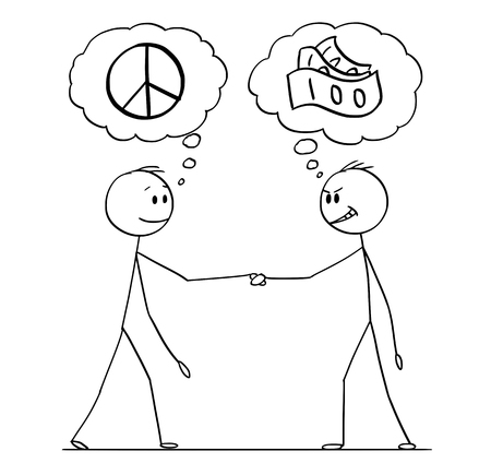 Cartoon stick figure drawing conceptual illustration of two men or businessmen or politicians handshaking with speech bubbles with peace and money symbol. Negotiation with different expectations. Illustration