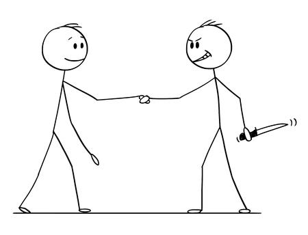 Cartoon-Strichmännchen zeichnen konzeptionelle Illustration von zwei Männern oder Geschäftsleuten oder Politikern, die Hände schütteln, einer von ihnen mit Messer in der Hand versteckt.