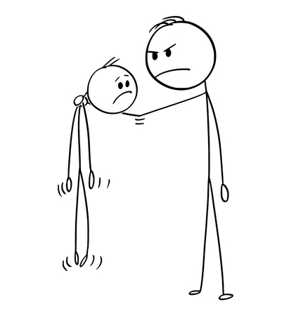 Cartoon stick figure drawing conceptual illustration of angry big and strong man holding smaller and weaker man in the air.