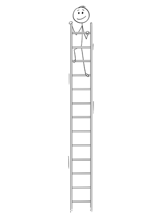 Cartoon stick figure drawing conceptual illustration of smiling happy man or businessman looking around from the top of very high ladder. Business concept of success. Stock Illustratie