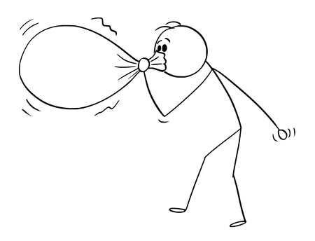 Cartoon stick figure drawing conceptual illustration of man or businessman blowing or inflating big balloon or bag or sack.