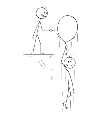 Cartoon stick figure drawing conceptual illustration of happy man or businessman flying up on inflatable party balloon, competitor with pin is ready to burst it.