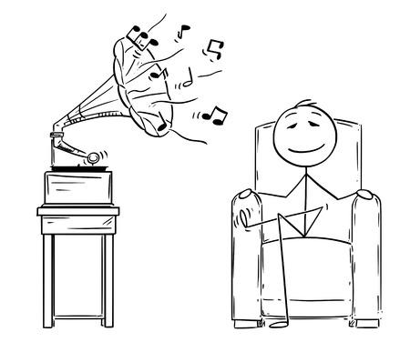 Cartoon stick figure dessin illustration conceptuelle d'un homme assis dans un fauteuil confortable et appréciant l'écoute de la musique du gramophone antique avec les yeux fermés. Vecteurs