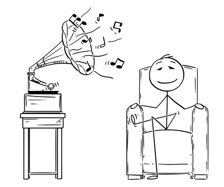 Cartoon stick figure drawing conceptual illustration of man sitting in comfortable armchair and enjoying hearing music from antique gramophone with eyes closed.