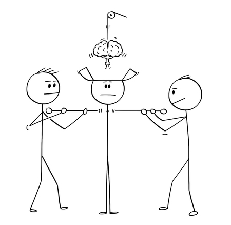 Cartoon stick figure drawing conceptual illustration of two technicians constructing or assembling together man or human being from parts.
