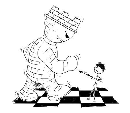 Cartoon stick figure drawing conceptual illustration of black chess game pawn endangered by giant root or tower on chessboard.