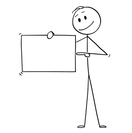 Cartoon stick figure drawing conceptual illustration of man or businessman holding empty sign and pointing at it,