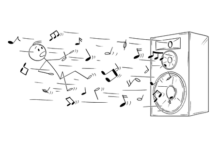 Cartoon stick figure drawing conceptual illustration of man and big loudspeaker or speaker which blow him away by loud music or sound represented by flying notes.