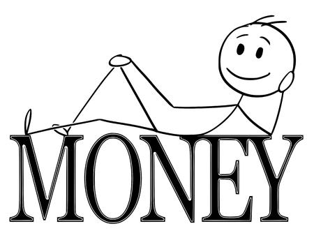 Cartoon stick figure drawing conceptual illustration of happy and positive man lying on big letters or text saying money. Concept of financial success.