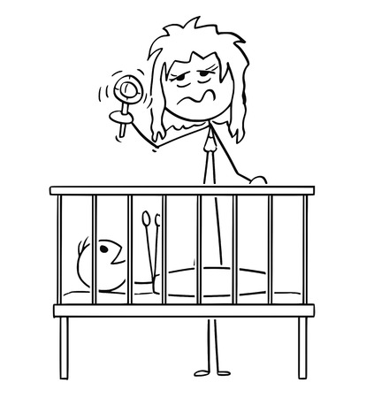 Cartoon stick figure drawing conceptual illustration of dead tired parent or mother entertaining baby in cot in night with rattle.