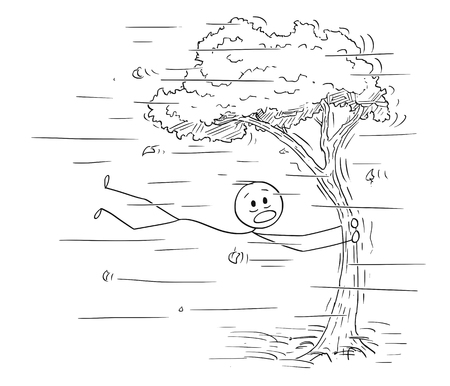 Cartoon stick figure drawing conceptual illustration of man holding tree trunk and flying in wind or windstorm.