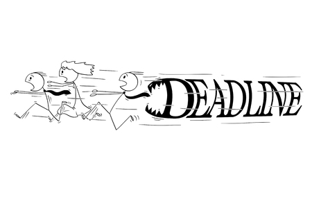 Cartoon stick figure drawing conceptual illustration of group of business people running in panic with big deadline text or letters with teeth chasing him to devour him.